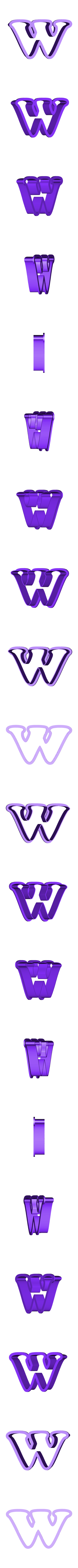 w.stl Download free STL file A-Z alphabet cookie cutter • 3D printer design, BlackSand3DMaker