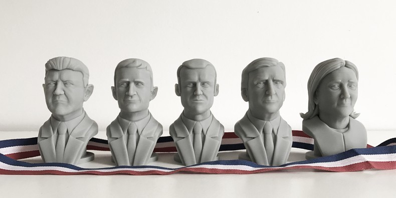 3d print the candidates of the french presidential. Cults offers you free 3d files of political personalities busts!