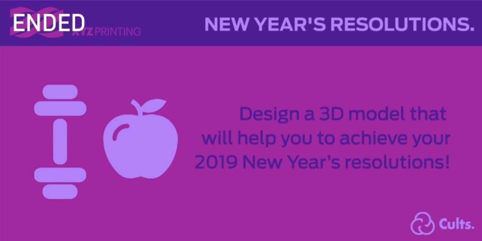 The challenge of design and 3D printing about New Year's Resolutions.