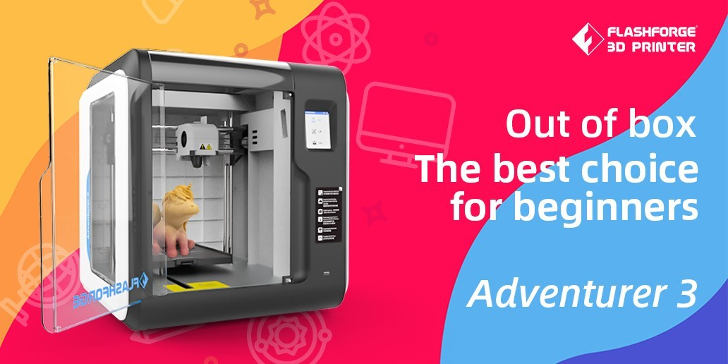 AD • Flashforge • Adventurer3 is the best 3D printer choice for family, school, workshop & 3D printing beginners.