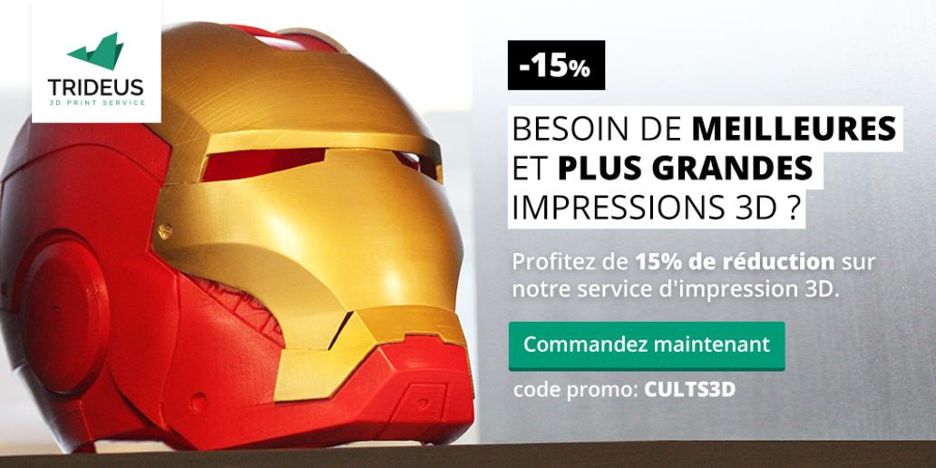 PUB •  Trideus Service d'Impression 3D • -15% avec le code promo CULTS3D