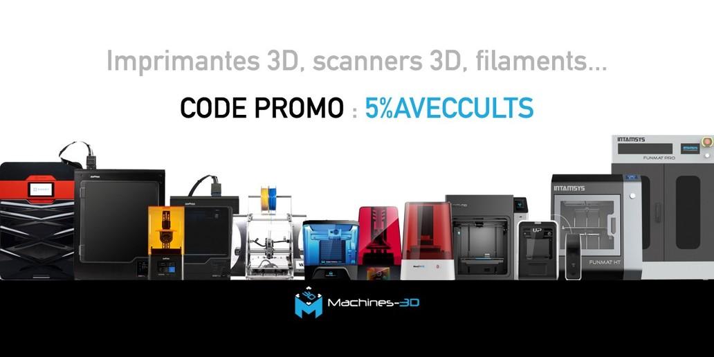 Code promo • 5% de réduction sur tout le site • imprimantes 3D, filaments, scanners...