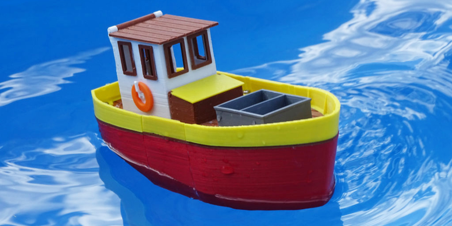 3D model to 3D print of floating toy fishing boat for children