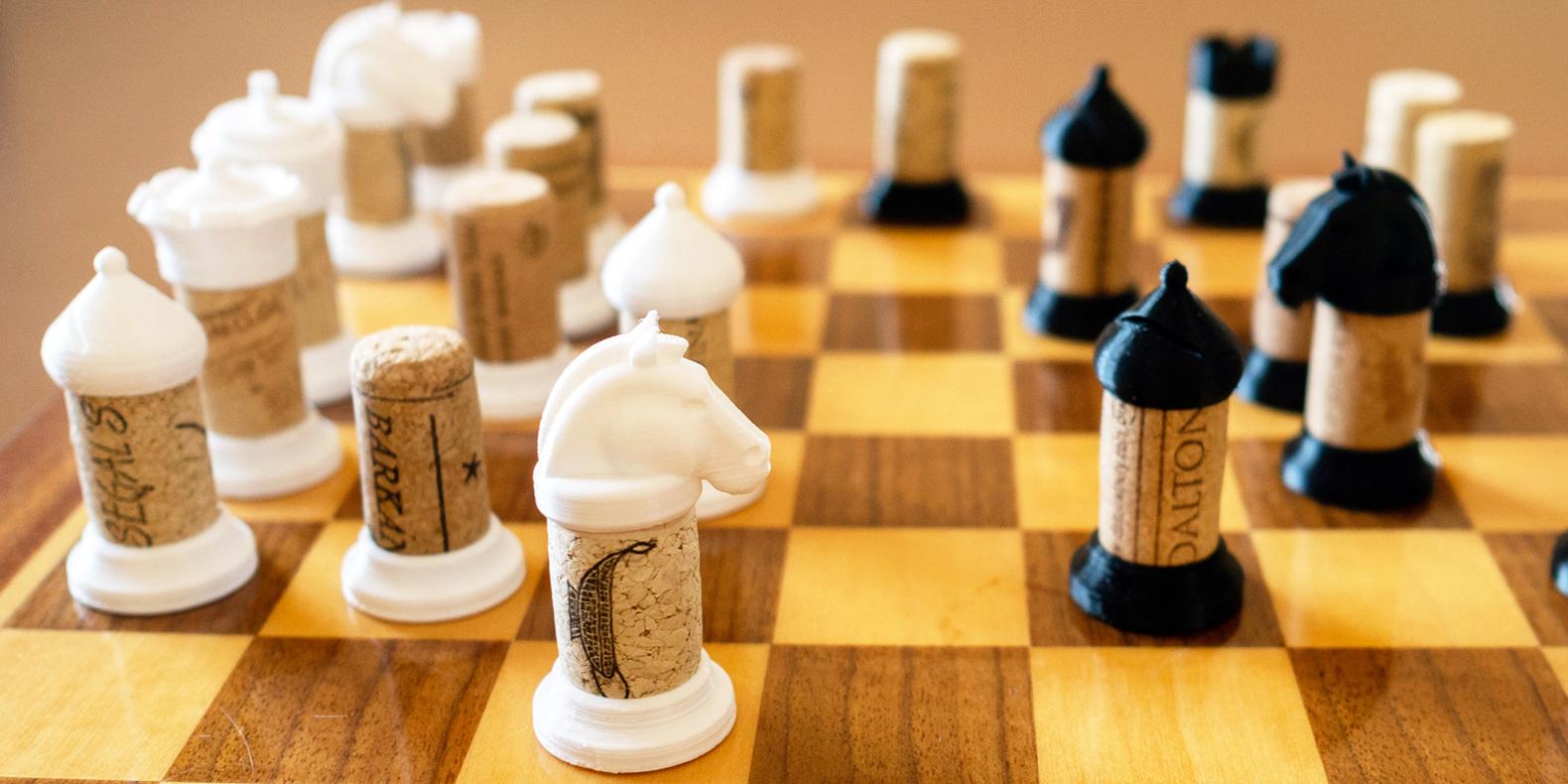 3d print upcycled wine cork chess set