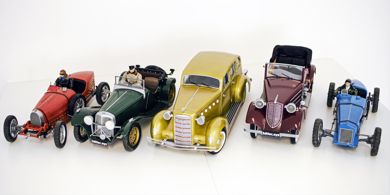 Fichiers STL d'un pack de 5 voitures vintages